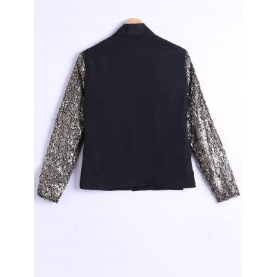 Single-Buttoned Sequined Sleeves Blazer
