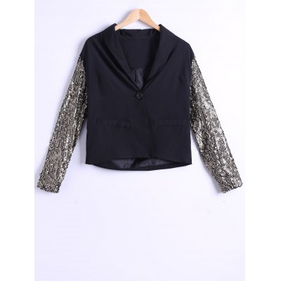 Single-Buttoned Sequined Sleeve Blazer