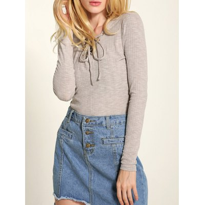 Long Sleeve Front Lace-Up Knitwear
