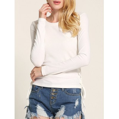 Long Sleeve Side Lace Up Knitwear
