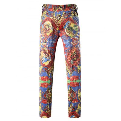 Figure Print Button Pocket Zipper Fly Pants