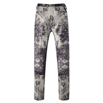 Peacock Print Zipper Fly Straight Leg Pants