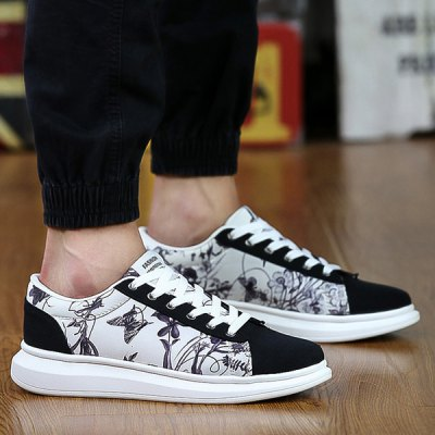 Suede Spliced Print Casual Shoes
