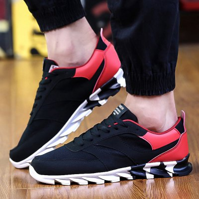 Mesh Suede Spliced Athletic Shoes