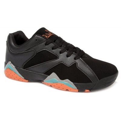 PU Spliced Suede Lace-Up Athletic Shoes