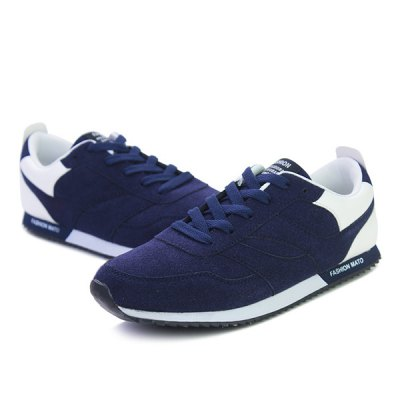 Colour Splicing Suede Tie Up Athletic Shoes