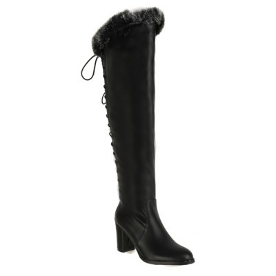 Faux Fur Chunky Heel Over The Knee Boots