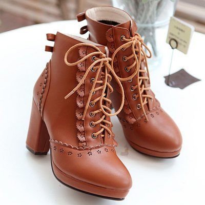 Engraving Chunky Heel Short Boots
