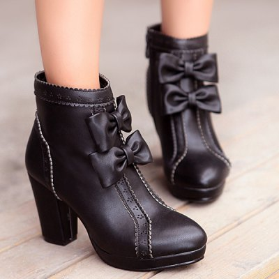Bowknot Chunky Heel Ankle Boots