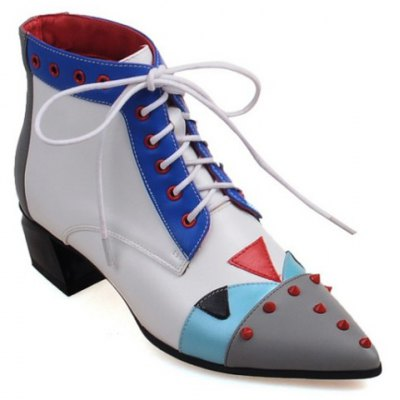 Eyelets Colour Block Ankle Boots