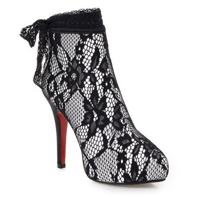Flower Pattern Lace Up Ankle Boots