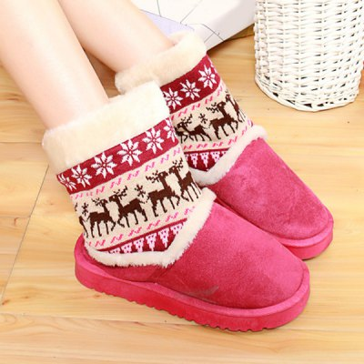 Knitted Snowflake Deer Flock Snow Boots