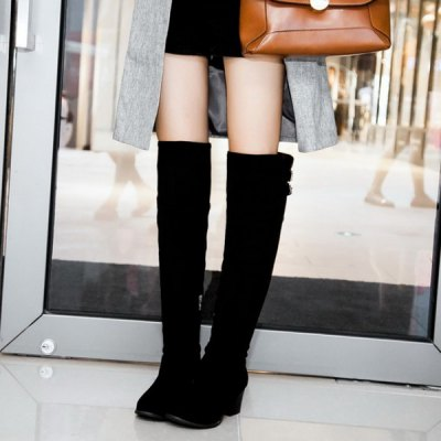 Zipper Double Buckle Suede Thigh Boots