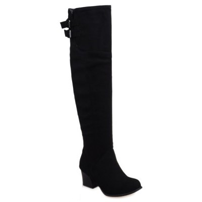 Double Buckle Suede Thigh Boots