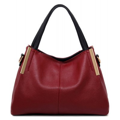 Zip Metal PU Leather Tote Bag