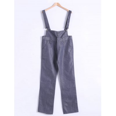 Plus Size Buttoned Denim Overall Pants
