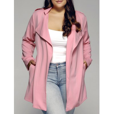 Plus Sized Stand Collar Trench Coat