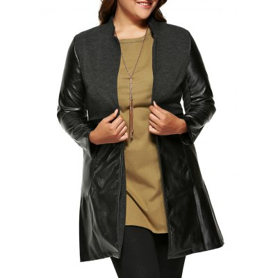 Wool Faux Leather Splicing Coat