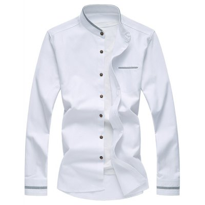Contrast Piping Breast Pocket Long Sleeve Shirt