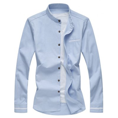 Contrast Piping Breast Pocket Stand Collar Long Sleeve Shirt