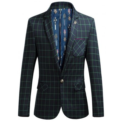 Checked Flap Pocket Long Sleeve Single Breasted Blazer