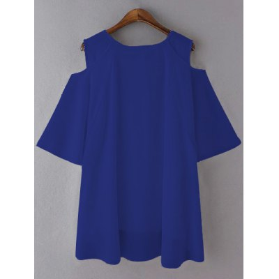 Plus Size Chic Cold Shoulder Chiffon BlousePlus Size Tops<br>Plus Size Chic Cold Shoulder Chiffon Blouse<br><br>Material: Polyester<br>Fabric Type: Chiffon<br>Clothing Length: Long<br>Sleeve Length: Three Quarter<br>Collar: Scoop Neck<br>Style: Fashion<br>Season: Summer<br>Pattern Type: Solid<br>Weight: 0.290kg<br>Package Contents: 1 x Blouse