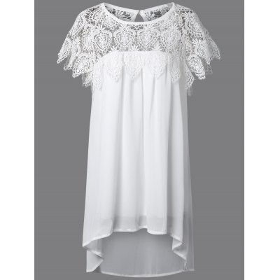 Lace Splicing Asymmetrical Mini Dress with Sleeves