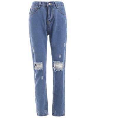 Ripped Loose-Fitted Pencil Jeans