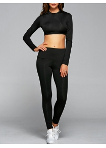 Long Sleeve Cropped T-Shirt With Leggings Gym Outfits