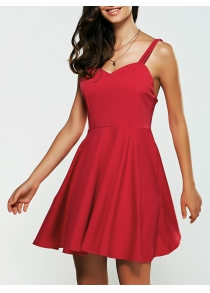 Backless Spaghetti Strap Mini Skater Dress