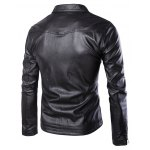 cheap Side Zipper-Up Turn-Down Collar Faux Leather Jacket