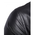 Side Zipper-Up Turn-Down Collar Faux Leather Jacket deal