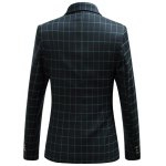 cheap Checked Flap Pocket Long Sleeve Single Breasted Blazer