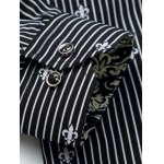 Floral Printed Lining Long Sleeves Pinstriped Shirt deal