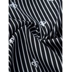 best Floral Printed Lining Long Sleeves Pinstriped Shirt