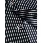 Floral Printed Lining Long Sleeves Pinstriped Shirt for sale