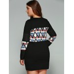 Plus Size Tribal Print Zipper Decorated Dress for sale