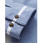 Contrast Piping Breast Pocket Stand Collar Long Sleeve Shirt deal