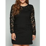 Plus Size Lace Pockets Long Sleeve Dress