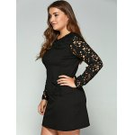 Plus Size Lace Pockets Long Sleeve Dress deal