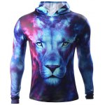 3D Starry Sky and Lion Print Hooded Long Sleeve Hoodie