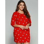 cheap Plus Size Penguin Print Vertical Pocket Dress