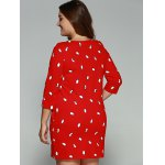 Plus Size Penguin Print Vertical Pocket Dress for sale