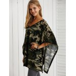 V Neck Lace-Up Camo Print Knitwear deal