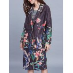 cheap Vintage Floral Print Trench Coat