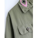 best Turn-Down Collar Embroidered Utility Jacket