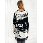 Asymmetric Letter Print Fringed Knitwear for sale