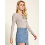 cheap Long Sleeve Front Lace-Up Knitwear