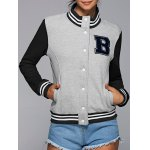 Active Stand Neck Color Block Baseball Jacket