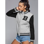 cheap Active Stand Neck Color Block Baseball Jacket
